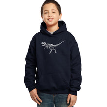 Load image into Gallery viewer, LA Pop Art Boy's Word Art Hooded Sweatshirt - Dinosaur T-Rex Skeleton