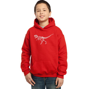 LA Pop Art Boy's Word Art Hooded Sweatshirt - Dinosaur T-Rex Skeleton