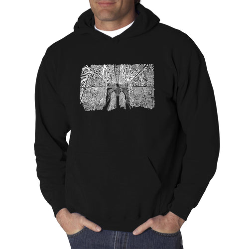 LA Pop Art Men's Word Art Hooded Sweatshirt - Brooklyn Bridge