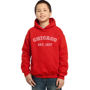 LA Pop Art Boy's Word Art Hooded Sweatshirt - Chicago 1837