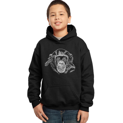 LA Pop Art Boy's Word Art Hooded Sweatshirt - Chimpanzee