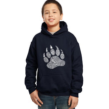 Load image into Gallery viewer, LA Pop Art Boy's Word Art Hooded Sweatshirt - Types of Bears
