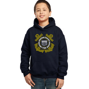 LA Pop Art Boy's Word Art Hooded Sweatshirt - Coast Guard