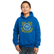 Load image into Gallery viewer, LA Pop Art Boy's Word Art Hooded Sweatshirt - Coast Guard