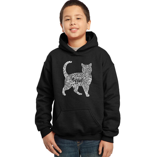 LA Pop Art Boy's Word Art Hooded Sweatshirt - Cat