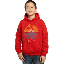Load image into Gallery viewer, LA Pop Art Boy's Word Art Hooded Sweatshirt - Cities In San Diego