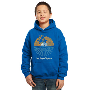 LA Pop Art Boy's Word Art Hooded Sweatshirt - Cities In San Diego