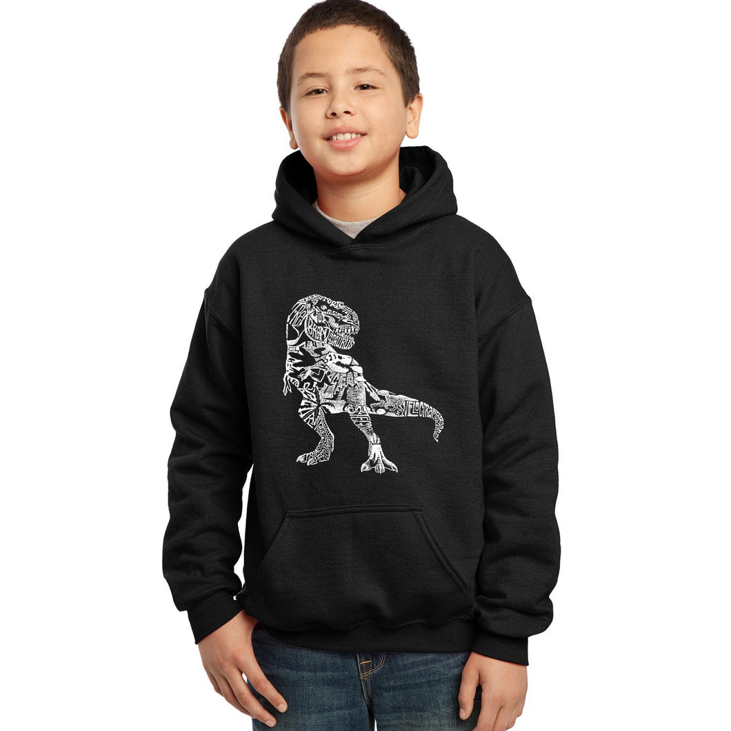 LA Pop Art Boy's Word Art Hooded Sweatshirt - Dino Pics