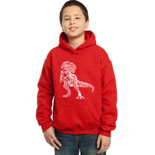 Load image into Gallery viewer, LA Pop Art Boy's Word Art Hooded Sweatshirt - Dino Pics