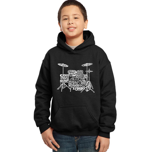 LA Pop Art Boy's Word Art Hooded Sweatshirt - Drums