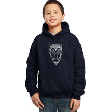 Load image into Gallery viewer, LA Pop Art Boy's Word Art Hooded Sweatshirt - THE DEVIL'S NAMES