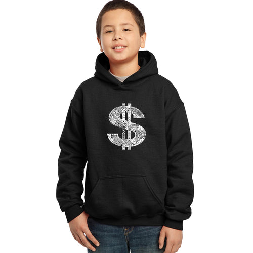 LA Pop Art Boy's Word Art Hooded Sweatshirt - Dollar Sign