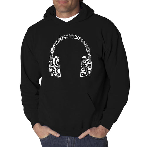 LA Pop Art Men's Word Art Hooded Sweatshirt - Music Note Headphones