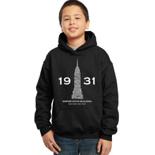 Load image into Gallery viewer, LA Pop Art Boy's Word Art Hooded Sweatshirt - Empire State Building