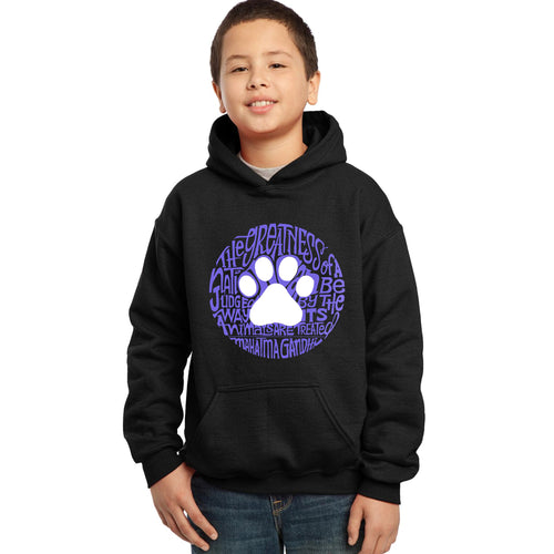 LA Pop Art Boy's Word Art Hooded Sweatshirt - Gandhi's Quote on Animal Treatment