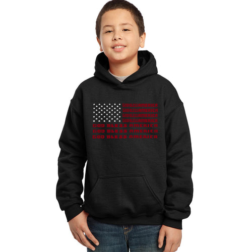 LA Pop Art Boy's Word Art Hooded Sweatshirt - God Bless America