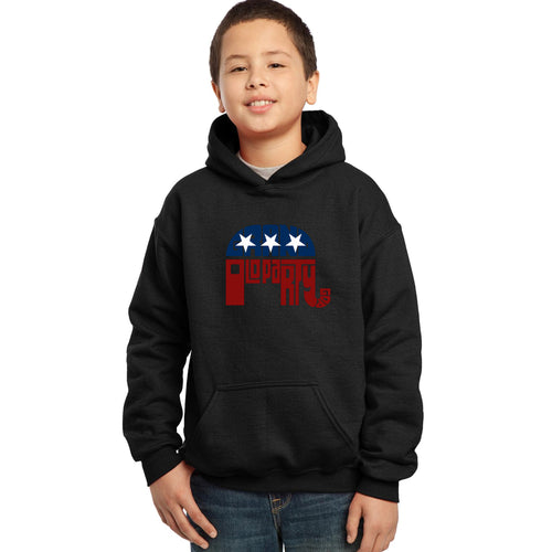LA Pop Art Boy's Word Art Hooded Sweatshirt - REPUBLICAN - GRAND OLD PARTY