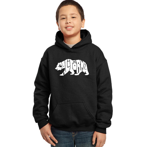 LA Pop Art Boy's Word Art Hooded Sweatshirt - California Bear