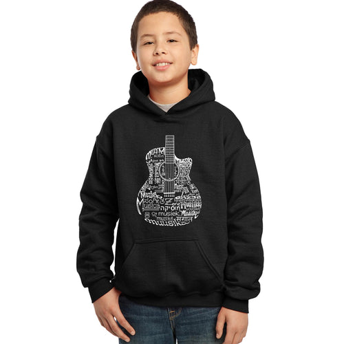 LA Pop Art Boy's Word Art Hooded Sweatshirt - Languages Guitar