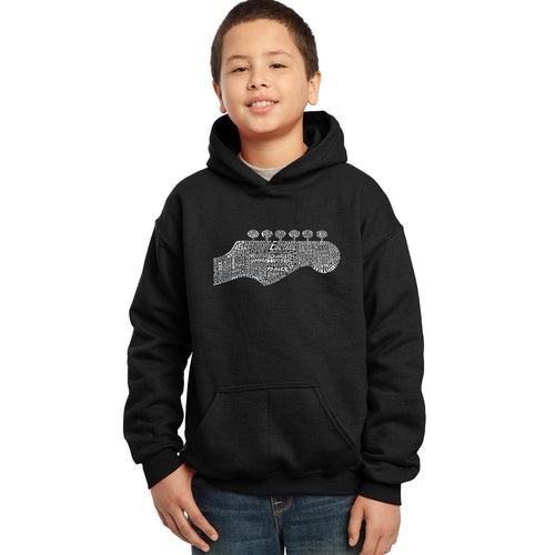 LA Pop Art Boy's Word Art Hooded Sweatshirt - Guitar Head