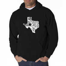 Load image into Gallery viewer, LA Pop Art Men's Word Art Hooded Sweatshirt - Everything is Bigger in Texas