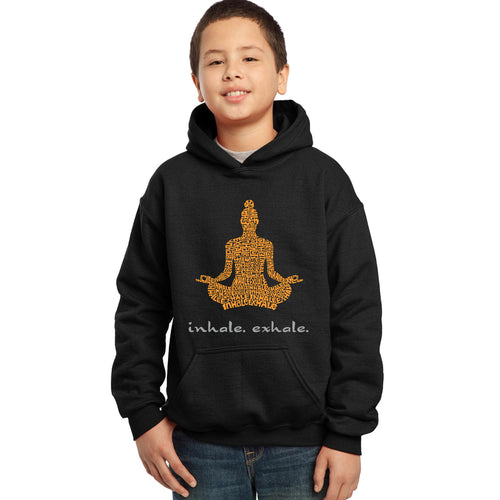 LA Pop Art Boy's Word Art Hooded Sweatshirt - Inhale Exhale