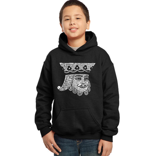 LA Pop Art Boy's Word Art Hooded Sweatshirt - King of Spades