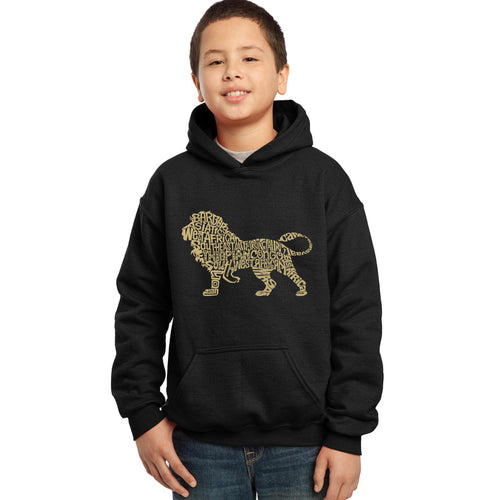 LA Pop Art Boy's Word Art Hooded Sweatshirt - Lion