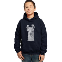 Load image into Gallery viewer, LA Pop Art Boy's Word Art Hooded Sweatshirt - Llama