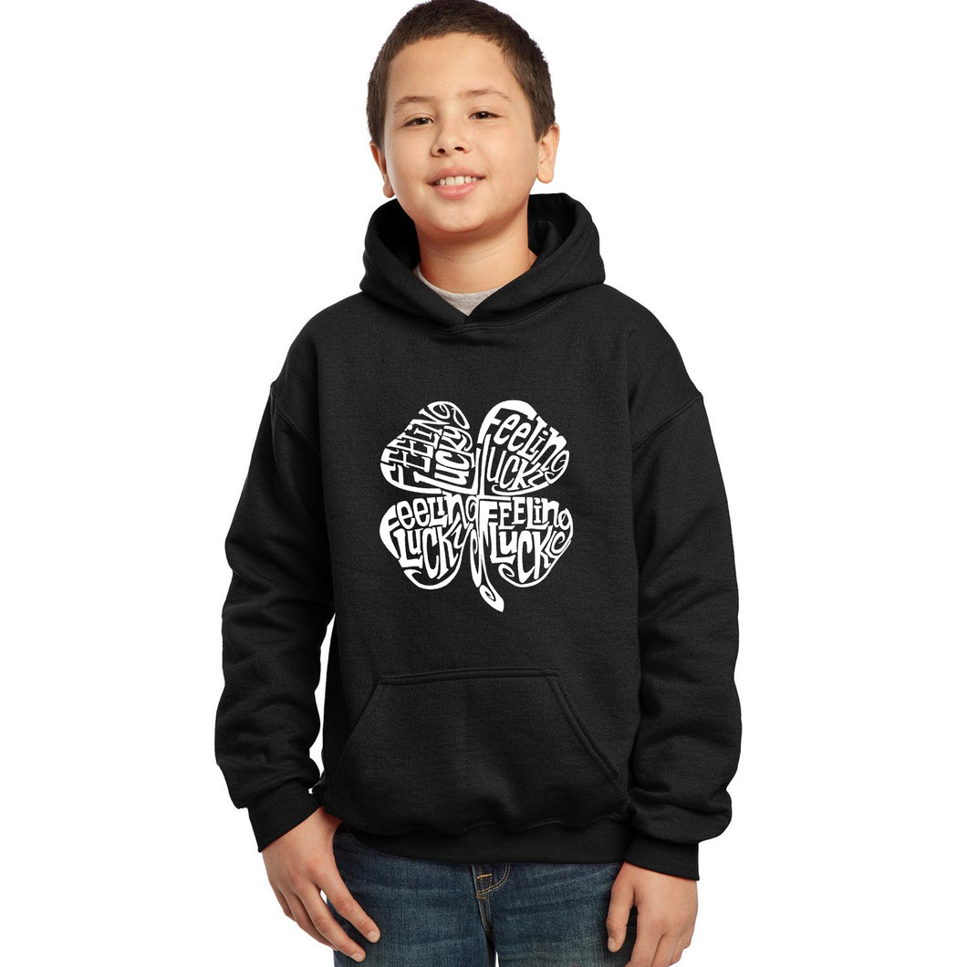 LA Pop Art Boy's Word Art Hooded Sweatshirt - Feeling Lucky