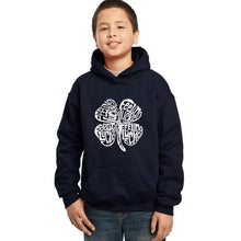 Load image into Gallery viewer, LA Pop Art Boy's Word Art Hooded Sweatshirt - Feeling Lucky