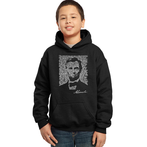 LA Pop Art Boy's Word Art Hooded Sweatshirt - ABRAHAM LINCOLN - GETTYSBURG ADDRESS