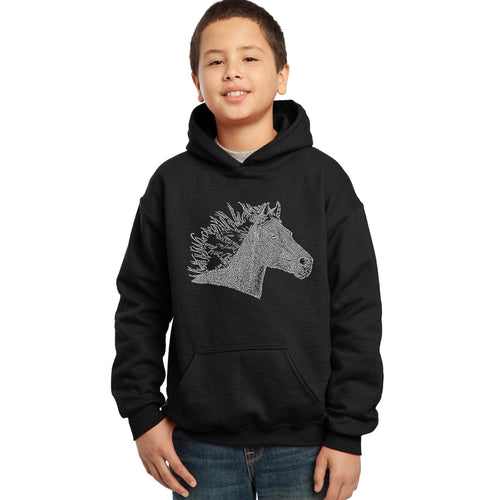 LA Pop Art Boy's Word Art Hooded Sweatshirt - Horse Mane