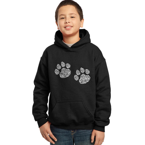 LA Pop Art Boy's Word Art Hooded Sweatshirt - Meow Cat Prints