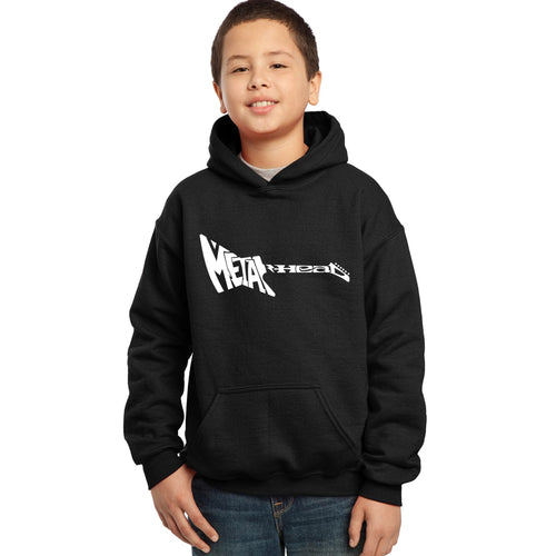 LA Pop Art Boy's Word Art Hooded Sweatshirt - Metal Head
