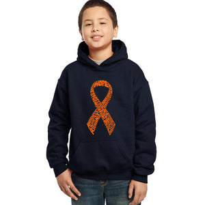 LA Pop Art Boy's Word Art Hooded Sweatshirt - Ms Ribbon