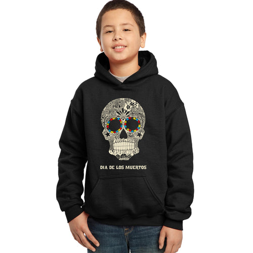 LA Pop Art Boy's Word Art Hooded Sweatshirt - Dia De Los Muertos