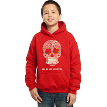 Load image into Gallery viewer, LA Pop Art Boy's Word Art Hooded Sweatshirt - Dia De Los Muertos