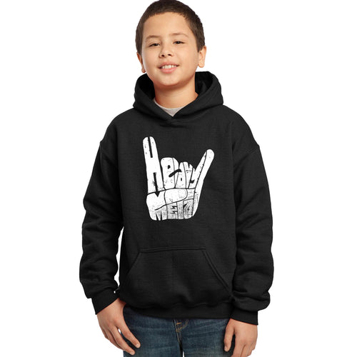 LA Pop Art Boy's Word Art Hooded Sweatshirt - Heavy Metal