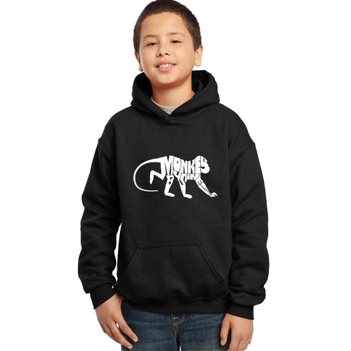 LA Pop Art Boy's Word Art Hooded Sweatshirt - Monkey Business