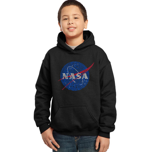 LA Pop Art Boy's Word Art Hooded Sweatshirt - NASA's Most Notable Missions