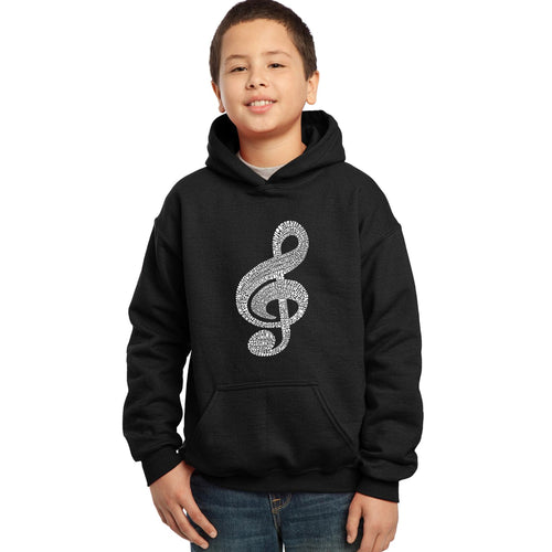 LA Pop Art  Boy's Word Art Hooded Sweatshirt - Music Note