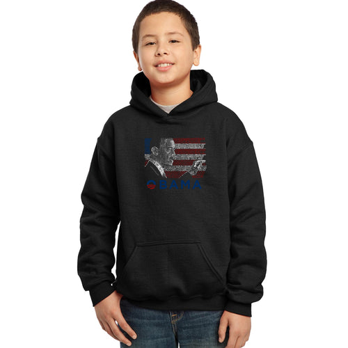 LA Pop Art Boy's Word Art Hooded Sweatshirt - BARACK OBAMA - ALL LYRICS TO AMERICA THE BEAUTIFUL