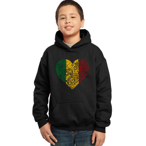 LA Pop Art  Boy's Word Art Hooded Sweatshirt - One Love Heart