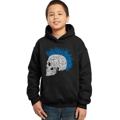 LA Pop Art Boy's Word Art Hooded Sweatshirt - Punk Mohawk