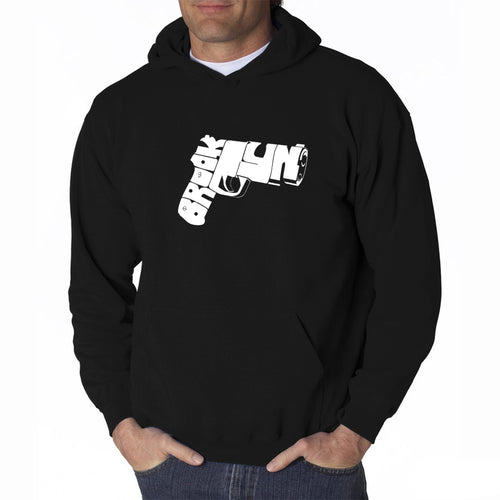 LA Pop Art Men's Word Art Hooded Sweatshirt - BROOKLYN GUN
