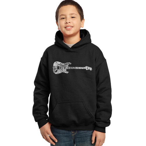 LA Pop Art  Boy's Word Art Hooded Sweatshirt - Rock Guitar