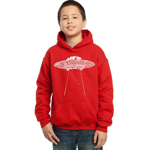 LA Pop Art Boy's Word Art Hooded Sweatshirt - Flying Saucer UFO