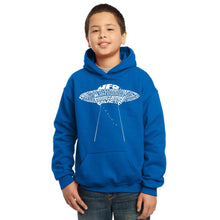 Load image into Gallery viewer, LA Pop Art Boy's Word Art Hooded Sweatshirt - Flying Saucer UFO