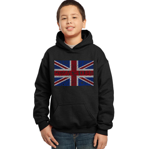 LA Pop Art Boy's Word Art Hooded Sweatshirt - God Save The Queen